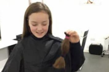 Kind Aimee cuts off her long hair for wig charity