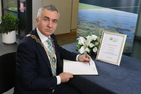 Books of condolences in Kilkeel, Warrenpoint and Newry for Lyra's partner and family